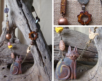 Cat's Meow Raku Fired Clay Necklace
