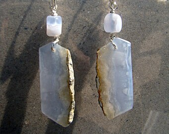 Slices of Blue Earrings - Periwinkle blue chalcedony
