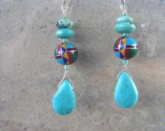 Zuni Inlay Sleeping Beauty Earrings