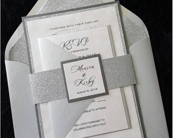 Elegant wedding invitations etsy more colors glitter wedding invitation filmwisefo