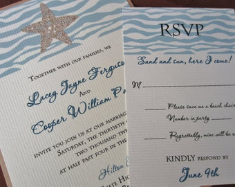 Starfish Wedding Invitation GENERIC SAMPLE or DEPOSIT, Destination Wedding, Beach Wedding, Tropical Wedding, Ocean Wedding, Island Wedding