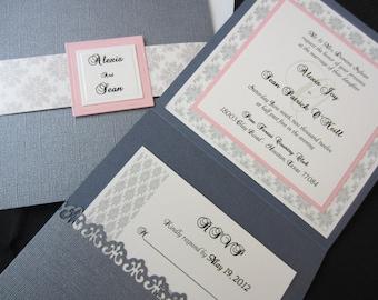 Alexis Elegant Wedding Invitation, Damask Wedding, Traditional Wedding, Classic Wedding, Formal Wedding, Wedding Invitations, Chic Wedding