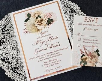 Rose Gold and Lace Wedding Invitation, Rose Gold Floral Lace Wedding Invitation, Shabby Chic Invitation, SAMPLE or DEPOSIT Listing