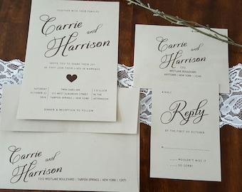 Rustic Wedding Invitation, Simple Wedding, Classic Wedding, Country Wedding, Heart Wedding Invitation, Shabby Chic Wedding Invitation