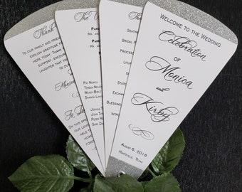 Glitter Wedding Program Petal Fans, Silver Glitter, Gold Glitter, Plum Glitter, Red Glitter