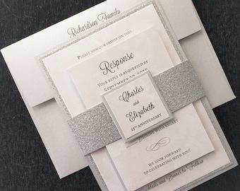 25th Anniversary Invitation, Silver Anniversary Invitation, Silver Glitter Wedding Invitation, Vow Renewal, GENERIC SAMPLE available