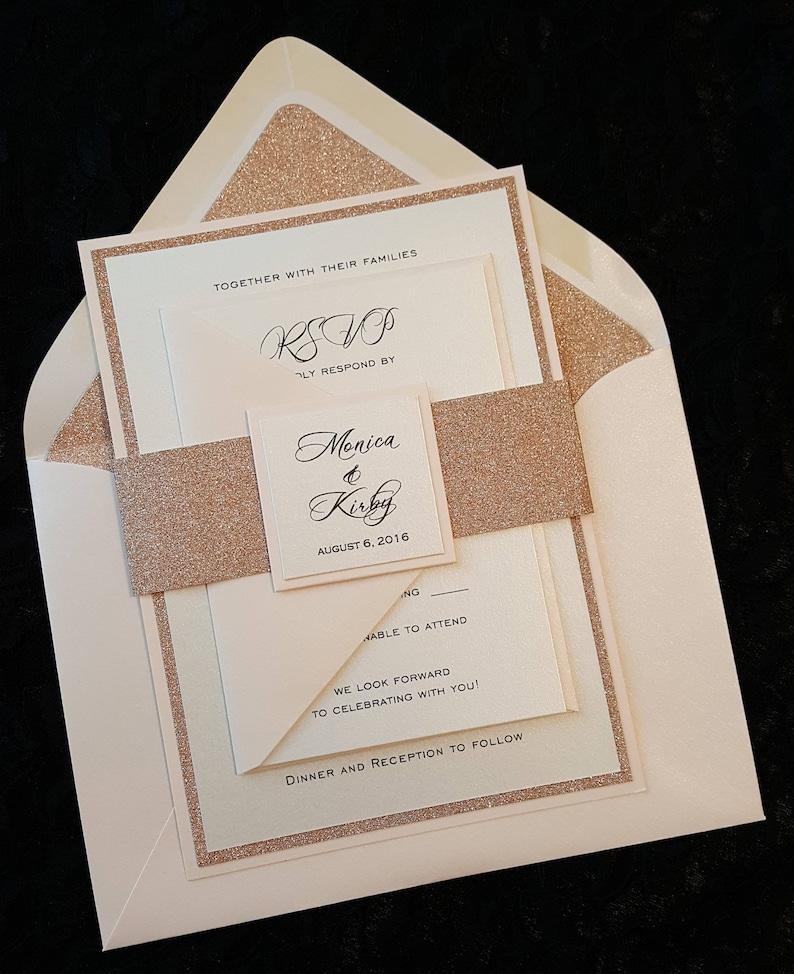Fancy Wedding Invitations.Glitter Wedding Invitation Rose Gold Glitter Wedding Invitation Elegant Wedding Invitation Wedding Invitation
