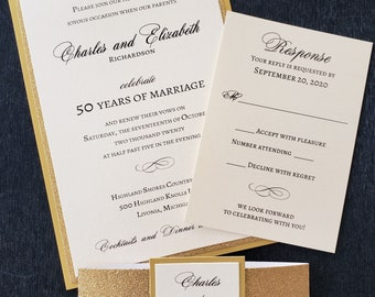 50th Anniversary Invitation, Golden Anniversary Invitation, Gold Glitter Wedding Invitation, Vow Renewal, GENERIC SAMPLE available