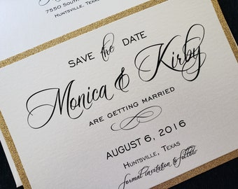 Gold Glitter Save The Date, Glitter Save The Date, Elegant Save The Date, Generic Sample Available