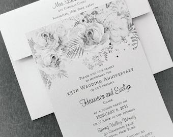 25th Silver Anniversary Invitation, Silver Floral Anniversary Invitation, Generic Sample Available