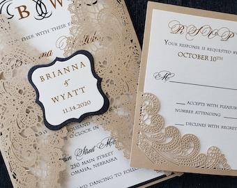 Gold Lace Wedding Invitation, Gold & Black Lace Wedding Invitation, Shabby Chic Invitation, SAMPLE or DEPOSIT Listing