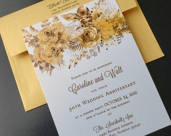 50th Gold Anniversary Invitation, Gold Floral Anniversary Invitation, Generic Sample Available