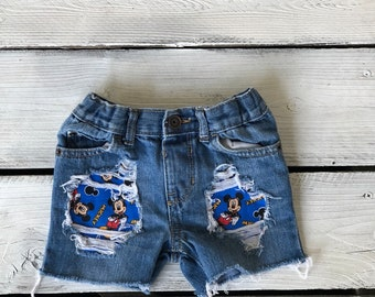4c585a77f9 Mickey Mouse boys shorts, distressed toddler shorts, boys birthday outfit,  disney trip outfit