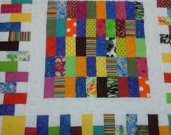 Baby quilt bright and colorful
