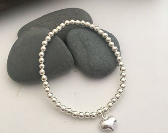 Sterling silver beaded bracelet with puffy silver heart - silver heart bracelet - 4mm sterling silver beads