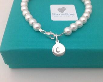 Personalised Swarovski Pearl Bracelet with Sterling Silver initial charm - pearl bracelet - bridesmaid bracelet - bridesmaids gifts
