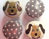 4 x Gorgeous Hand-painted Decoupage Polka Dot Puppy Dog Pine Drawer Knobs