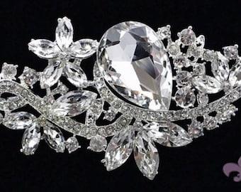 Rhinestone Brooch Pin - Rhinestone Crystal Brooch - Rhinestone Brooch - Brooch- Bridal Sash Brooch