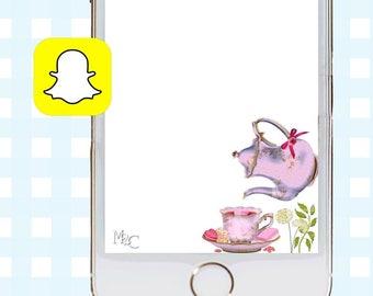 Tea Party Snapchat GeoFilters, Birthday Snapchat Filters, Tea Party Snapchat Filter, Snapchat GeoFilter, Tea Party Birthday Party, Tea Time