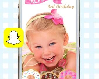 Snapchat GeoFilters, Birthday Snapchat Filters, Party Snapchat Filter, Custom Snapchat GeoFilter, Doughnut Birthday Party, Doughtnut Filter