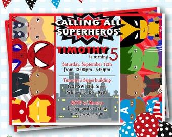 Superhero Invitations Marvel Invitations Captain America Etsy