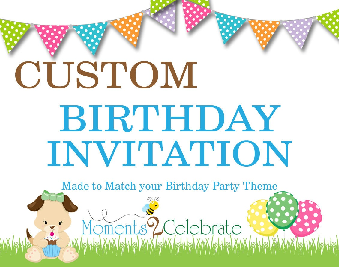 Custom Birthday Invitations Custom Birthday Invite Custom | Etsy