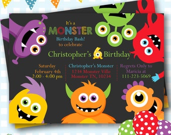 Monster Invitations, Monster Birthday Invitation, Printable Invitation, Monster Party, Little Monster Party Invitations, Monster Bash - #M17