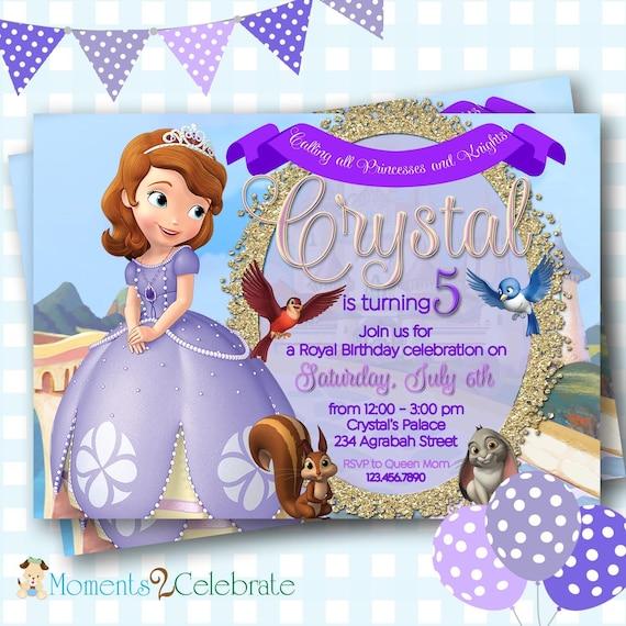Princess Sofia Invitation Sofia The First Birthday Etsy