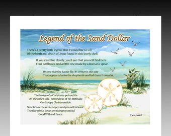 image about Legend of the Sand Dollar Poem Printable identified as Sand greenback artwork Etsy
