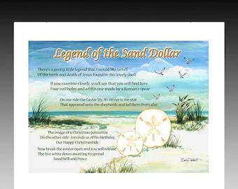 graphic relating to Legend of the Sand Dollar Poem Printable named Sand greenback artwork Etsy