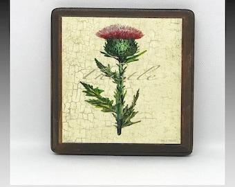 Wildflower, Wildflowers, Herbs, Plants, Thistle, Wildflower Prints, Gifts, Wood, Plaques, Boards, Flower Prints, Small, Mini Prints, Art.