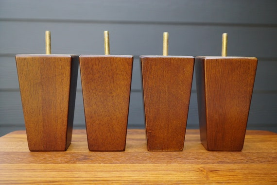 Tsw5 5 Walnut Finish Square Taper Legsfeet For Etsy