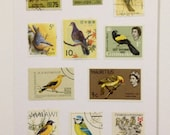 Vintage Stamp Wall Art - Yellow Birds