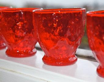 crinkle glass...gorgeous deep crimson red Morgantown Seneca Driftwood pattern dessert/juice glasses