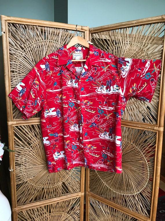 Fun and fab 1960's - 70's tiki time Aloha shirt. mens size med / large xGqao8