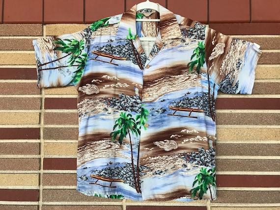 Rare and Amazing 1950's Rayon Iolani Hawaii Aloha
