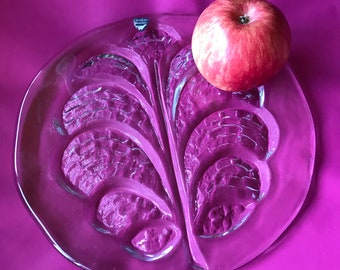 Wonder and stylish Orrefor vintage Tree of life cheese platter. 1970's Sweden