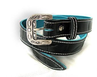 Handmade Black Alligator Print Belt with Italian Buckle.
