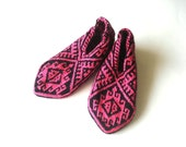 pink black hand knit womens slippers with geometric desings, bohemian gift for woman christmas