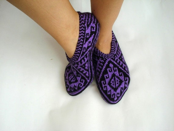 cfb364fef00f8 ultra violet knit slippers, Purple black Traditional Turkish Hand Knit  Slippers Socks for men women, home shoes, geometric