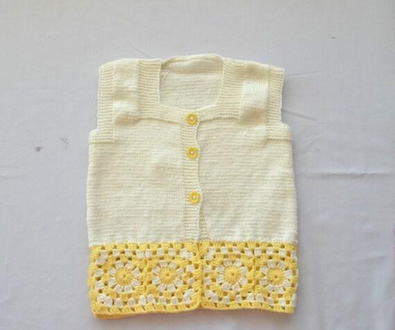 a471231e3ae1 Knit kids vest cream yellow acrylic yarn vest with granny