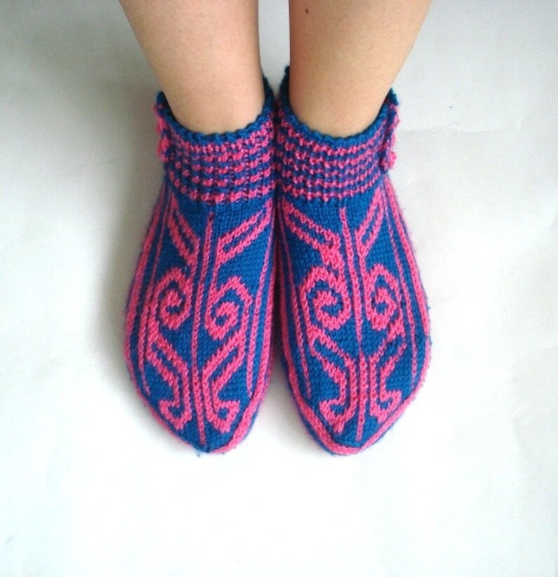 69a29c8cf9816 hand knit womens winter socks, blue pink home shoes, crochet house shoes,  womans christmas gifts