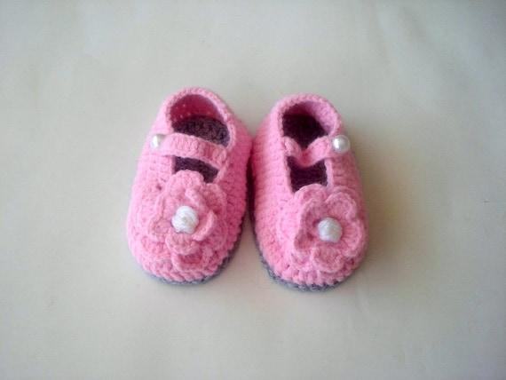 Mary Jane Schuhe häkeln Baby-Schuhe grau rosa