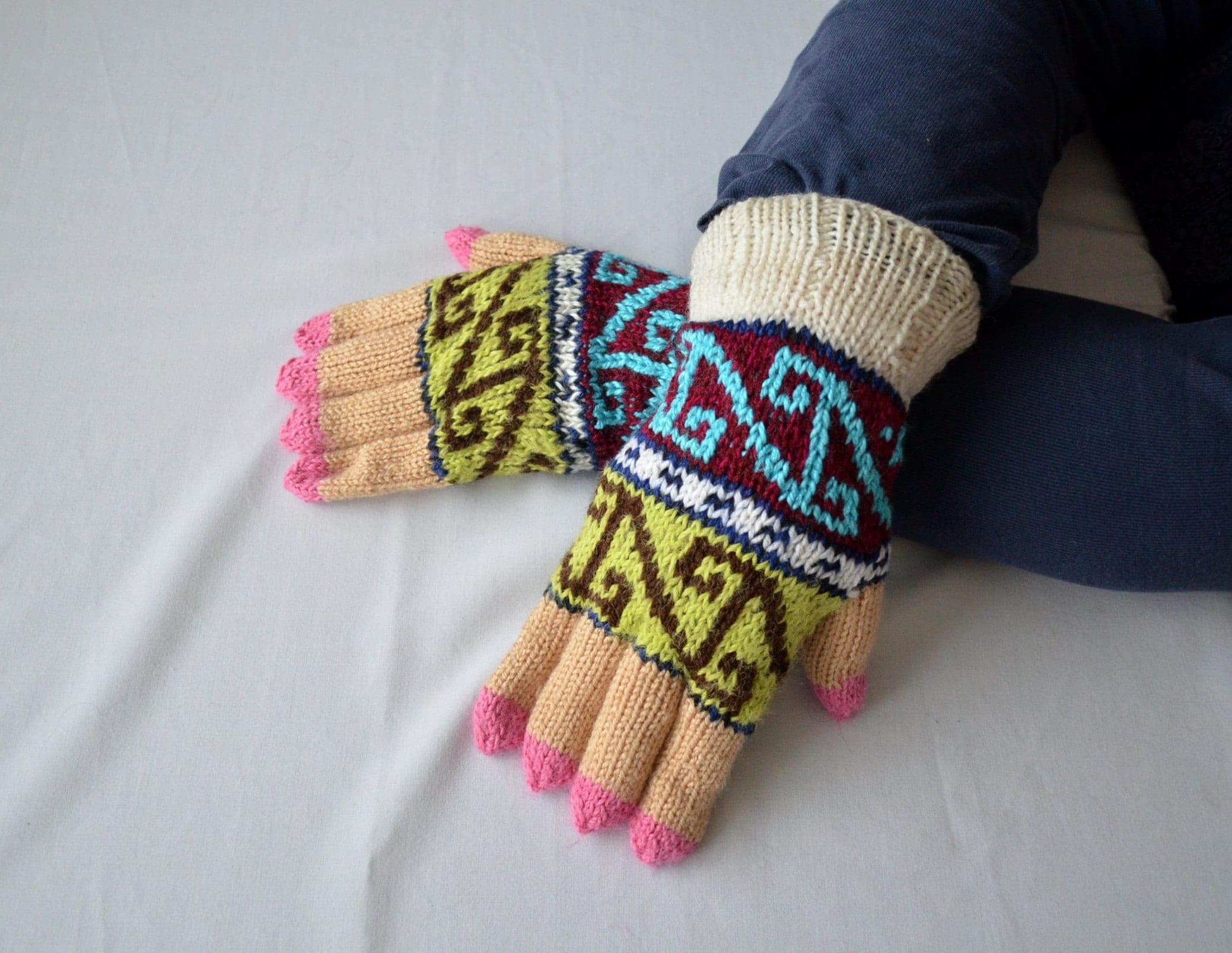 Geometric Colorful Gloves Men Women Knit Gloves Womens  Etsy-3105