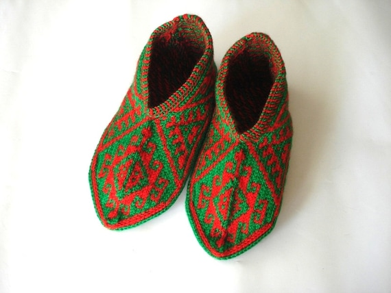 Red And Green Turkish Traditional Handmade Knitted Socks Etsy