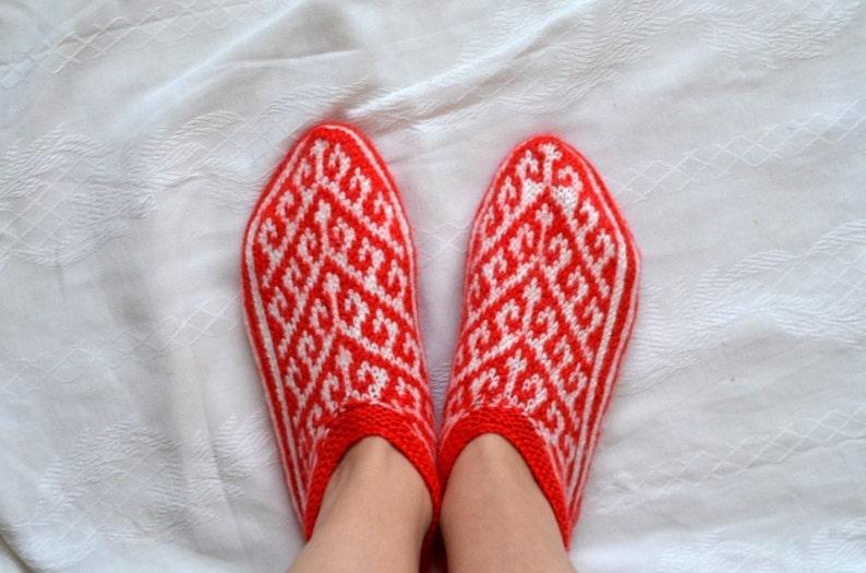 f36e6ce354843 red white Hand Knit women winter Socks, crochet womens slippers, knit home  shoes