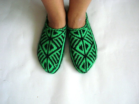 Knit Slippers Neon Green Black Turkish Knitted Socks Etsy