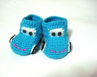 crochet baby shoes, blue turquoise car booty shoe, baby slippers, crochet baby booties 0 12 month baby, crochet baby shoes, Christmas gifts