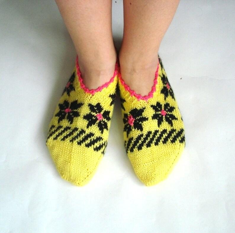 52c2dfdb76d27 Pink Yellow Black hand knit Slippers for Women, knit womans socks, winter  warm slippers, grandmother socks
