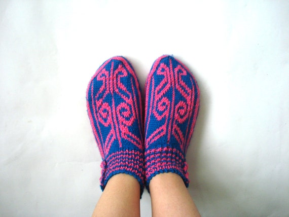 Knitted Slippers Womens Girls Slippers Knit Flats Turkish Etsy